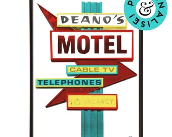 Retro Americana Deano's Motel Sign Pop Art Print