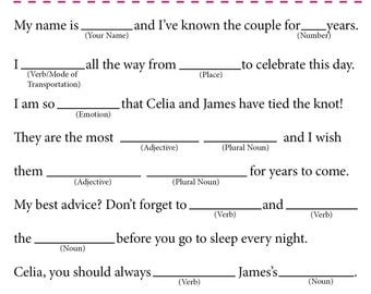 Wedding Mad Libs Wedding Guest Book