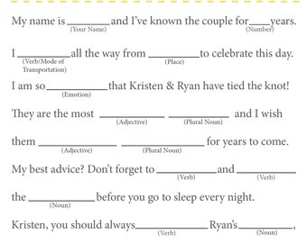 Customizable Personalized Printable Wedding Mad Libs (Can Also be used for a Bridal Shower)