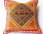 16x16 Patchwork,embroidery pillow, Mirror work Indian Cushion Cover, Cotton Throw Pillow, Red Pillow, christmas Pillow, bohemian pillow