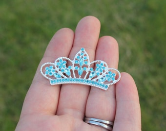 Flatback Teal Rhinestone Tiara Crown Embellishment- 30mm - Set of 3