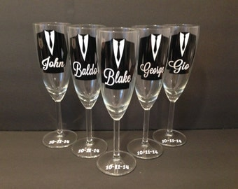 Personalized Groom and Groomsman Champagne Glasses, Wedding Party Glasses 1