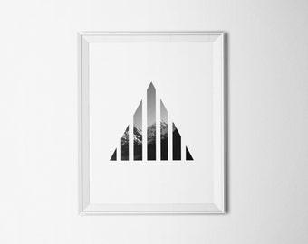 PRINTABLE Art Mountain Print Triangle Art Triangle Print Geometric Triangle Print Geometric Art Geometric Print Mountain Art Stripe Print
