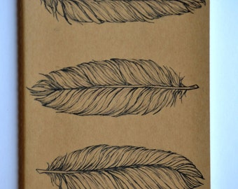 Three Feather Moleskine Cahier Notebook Journal . Lined pages . Large . Feather . Kraft Brown . Gift idea