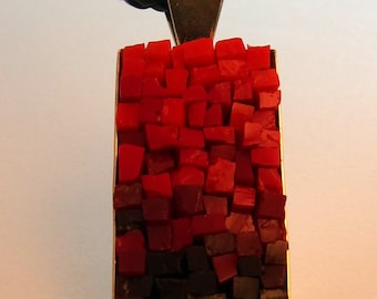 Red Ombre - Mosaic Rectangular Pendant