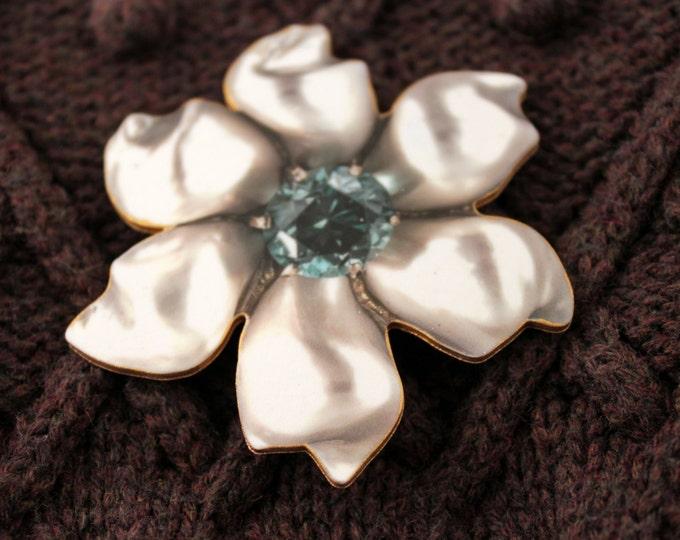 Faux Vintage Pearl Petal with Aquamarine Center Flower Brooch --shrink plastic art - shrink plastic pin - shrinky dink jewelry