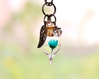 Terrarium Necklace Turquoise Jewelry Boho Nature Gift April Birthstone Clear Crystal Turquoise Necklace Glass Bottle Necklace Dried Flower
