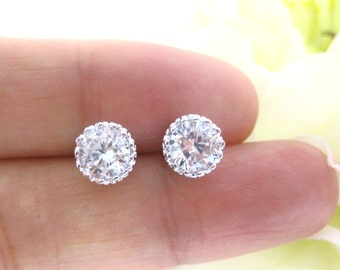 Cubic Zirconia Stud Earrings Wedding Jewelry White Gold Plated 8mm Round Clear White Earrings Bridal Stud Earrings Bridesmaids Gift (E093)