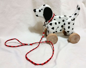Puppy Dog Wooden Rolling Toy for Toddlers and Kids - Dalmatian / Beagle