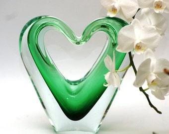 BIG glass heart sculpture, green heart shaped glass figurine,green heart glassware, romantic heart statue, large glass heart, wedding gift
