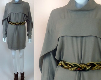 90s Monastic crepe cloque drapey chic designer dress