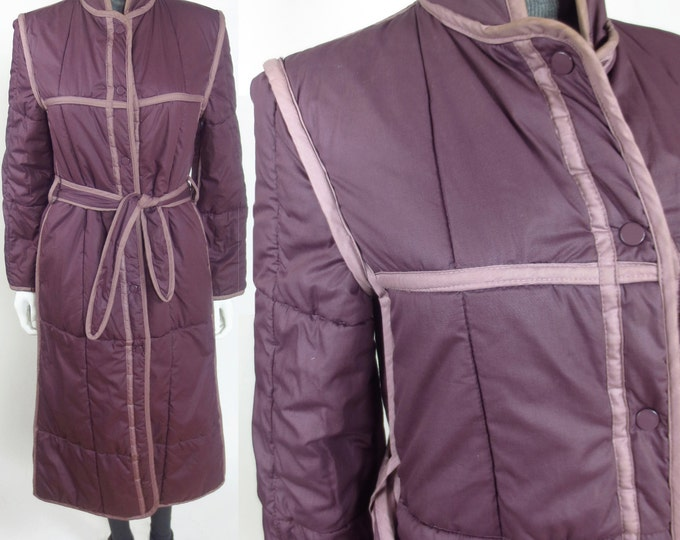 80s Chloe inspired reversible contrast quilted midi length coat