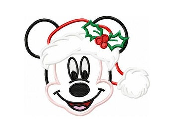 Christmas Mickey Mouse Applique Design in 3 Sizes - Instant Download