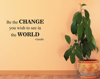"""Gandhi Quote: """"Change The World"""" Wall Decal, Vinyl Wall Art for Living-room, Bedroom, Wall Lettering Stickers #Q118"""