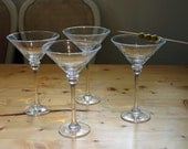 Large Beautiful  Krosno Martini Glasses Set of 4, Poland. Very elegant.