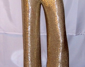 1960's Silver Bugle Beaded Evening Pants