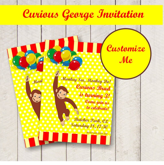 editable curious george party invitation personalized