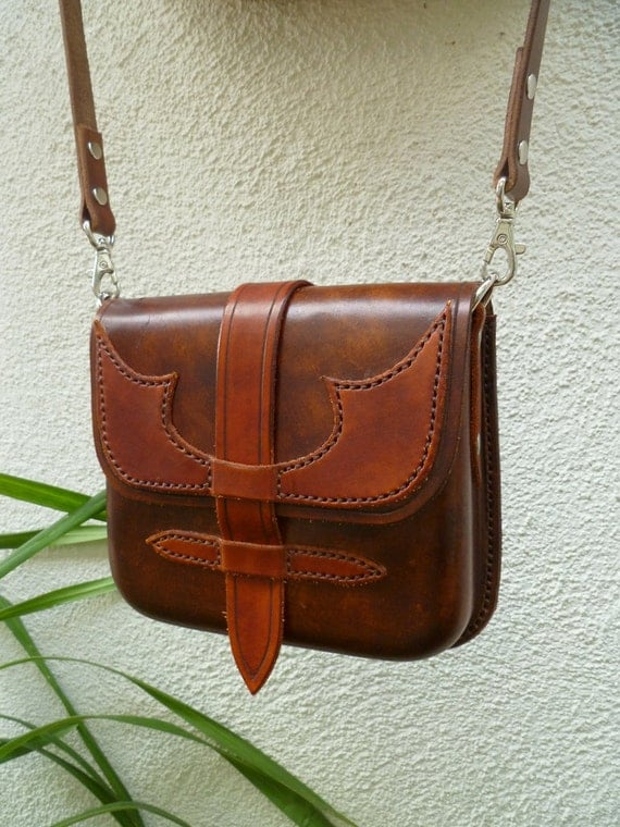 Molded leather bag hand stitched cross body strap nickel hardware