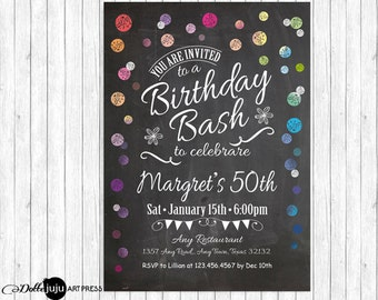 Joyous Confetti Chalkboard- Printable Birthday Party Invitation - DIY Birthday Celebration - Any Age