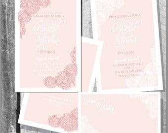 Elagent Bridal Shower Invitation with Advise Cards