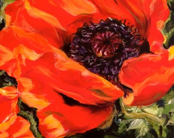 """Red Poppy Painting 8x8"""""""