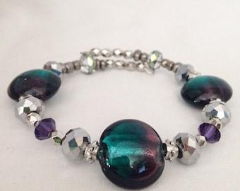 Purple beaded bracelet, green beaded bracelet, Swarovski crystal bracelet, purple bracelet, green bracelet