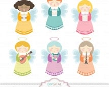 Musician Angels Clip Art Set - 6 Printable cliparts for scrapbooking, cards, web graphics - PNG- 300dpi- Instant Download