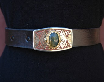 Leather Belt with Beautiful Gold Buckle and Stone
