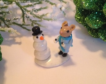 Miniature Mouse Christmas Winter Terrarium Sculpture Building a Snowman
