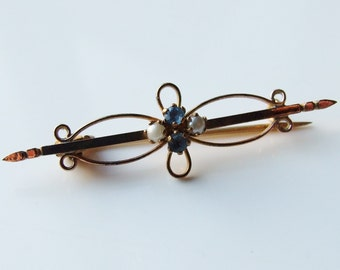 Edwardian Yellow Metal Seed Pearl & Sapphire Bar Brooch Pin
