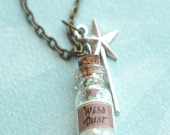 wish dust necklace-bottle necklace, potion pendant