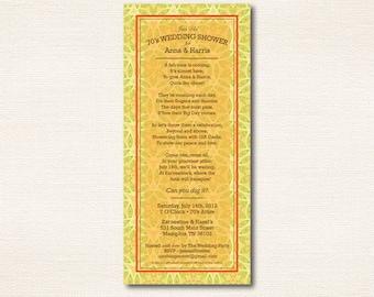 70s Invitation - Poem, 70s Theme, Party, Shower