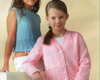 Girls Knitting Pattern Girls Cardigan Knitting Pattern Patterned Border Girls Top Crop Top Sleeveless Top 20-30 inch DK PDF Instant Download
