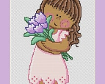 Little Girl Holding Purple Tulips Counted Cross Stitch Pattern in PDF for Instant Download