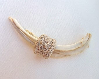 Pale Mocha Crochet Lace Ring ~ Ecru crochet cocktail ring (Made To Order) - Free shipping in Australia!