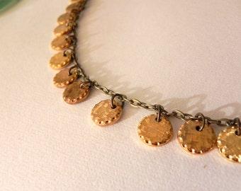 Vintage Solid Brass Discs Necklace
