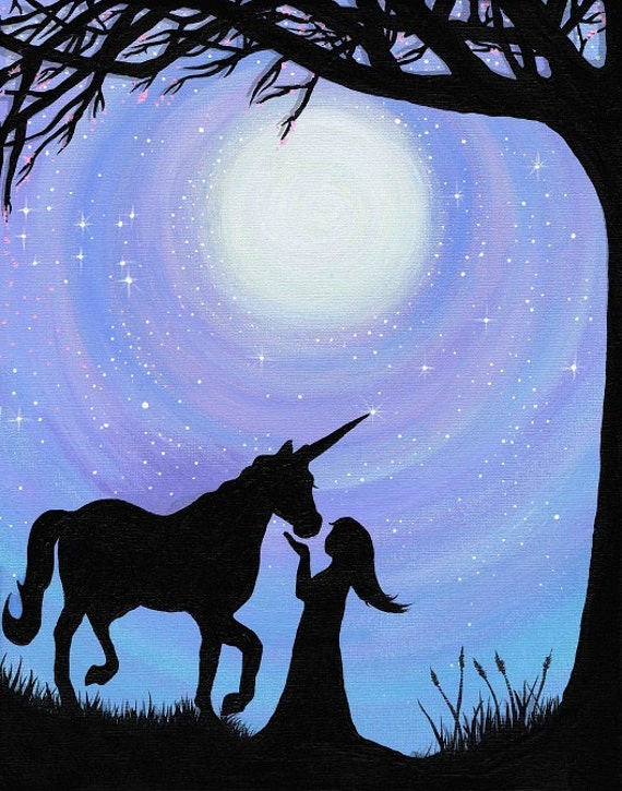 A girl and her unicorn silhouette print by freehandmagic for 2 little birds sat on my window