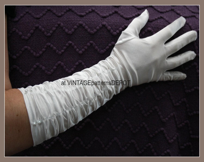 Womens Long White Gloves RUCHED Satin Ivory Bridal Gloves