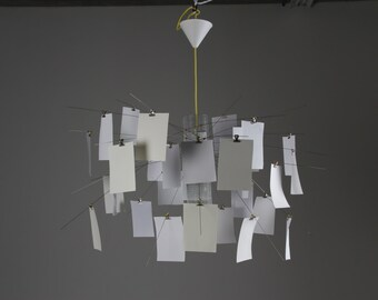 DIY Chandelier with Papers, or attach your own photos or art!