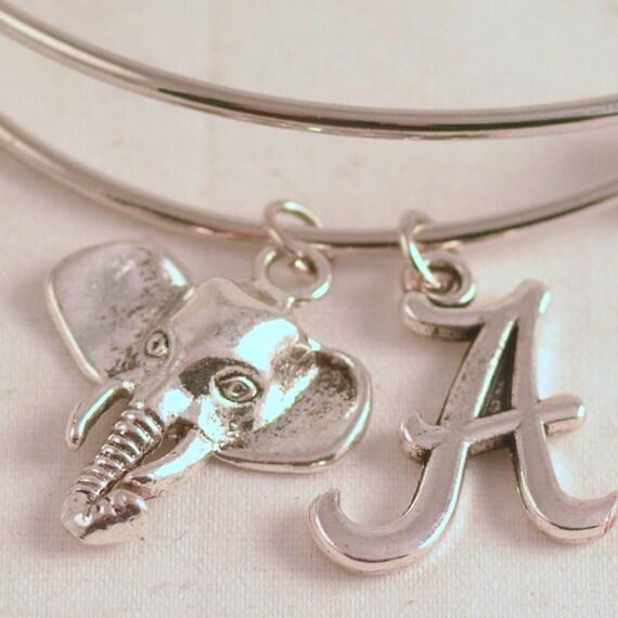 Alabama Charm Bracelet: Silver University Of Alabama Bangle Inspired By Charm By