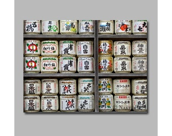 Japanese sake barrels. Man room idea asian wall decor. Asian canvas print. Game room.  Gift for him. Home decor. Home bar. Digitally signed.
