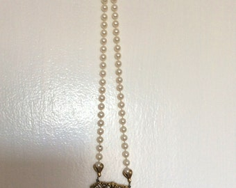Faux Pearl Necklace with golden Geometric Pendant