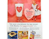 "1956 Borden's Starlac Nonfat Dry Powdered Milk Hearts Elsie the Cow ""More Nourishment Less Money"" Vintage Advertisement Print Ad Wall Decor"