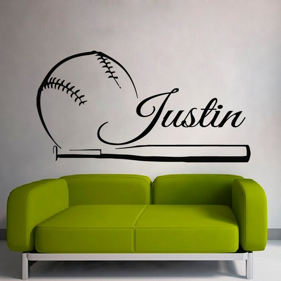 Baseball Wall Decals Boy Personalized Name By Decalmyhappyshop