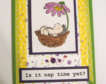 Handmade Penny Black Hedgehog card  Is it nap time?