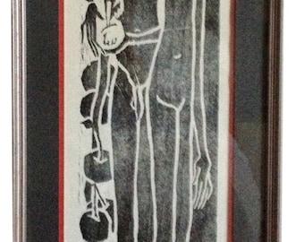 Mid Century Modern Print, Adam and Eve