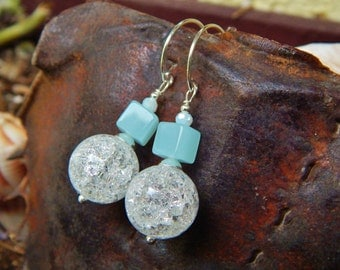 Bit of Blue Earrings - Crackle Quartz Beads, Blue Glass Cubes & White Crystals w Artisan-Made Sterling Silver Ear Wires / Aid Kids w Autism
