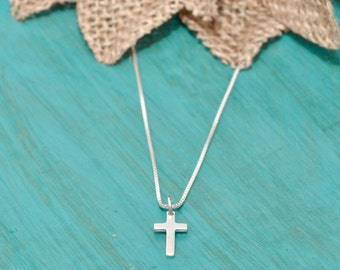 sterling silver cross necklace, cross, faith, hope, spiritual necklace
