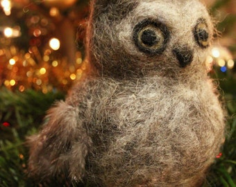 Needle Felted Owl with real feathers