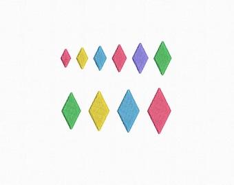 Mini Rhombus Machine Embroidery Design - 10 Sizes